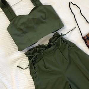 Two piece Army Green Flare High Pants Crop Top